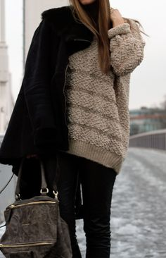 givenchy purse and big knitted sweater