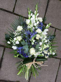 Luxury blue and white Tied Sheaf Funeral Floral Arrangements, Spring Flower Arrangements, Beautiful Flower Arrangements, Purple Flowers, Spring Flowers, Florist London, Funeral Sprays, Casket Sprays, Funeral Tributes