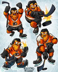 Philadelphia Flyers - Gritty on Behance Flyers Hockey, Hockey Logos, Ice Hockey Teams, Philadelphia Flyers, Monster Names, Mascot Design, Art Costume, Freelance Illustrator, Cartoon Styles