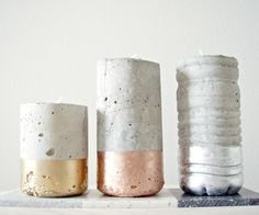 DIY Projects With Concrete - DIY Concrete Votives - Easy Home Decor and Cheap Crafts Made With Cement - Ideas for DIY Christmas Gifts, Outdoor Decorations Diy Unique Candles, Unique Candle Holders, Votive Holder, Candlestick Holders, Do It Yourself Inspiration, Diy Inspiration, Concrete Candle Holders, Candle Vases, Candleholders