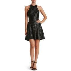 Dress the Population 'Anni' Sequin Minidress ($198) ❤ liked on Polyvore featuring dresses, matte black, open back short dresses, sequin mini dress, fit and flare dress, high neck cocktail dress and short dresses
