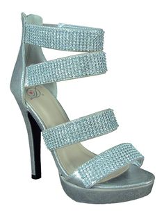 """Delicious Women Heels Open Toe Strappy Rhinestone Bling Formal Platform DIMAS Silver 8.5. Delicious Women Heels Open Toe Strappy Rhinestone Bling Formal Platform DIMAS. 5"""" Heel and 1"""" Platform (Approx). This Style Run True the size. Back Zipper for easy on / off. Brand Name: Delicious shoes (part of SODA shoes group)."""