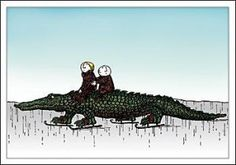 "Edward Gorey - ""Skating Alligator"""