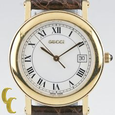 e5a88cfe211 Men s Gucci Gold-Plated Quartz Watch w  Date and Brown Leather Band 7200M