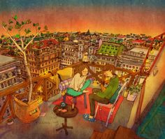We went out to the terrace at sunset for a cheerful conversation.   해질녘, 테라스에 나와서 즐겁게 대화를 나눠요.
