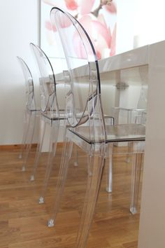 Coconut White Victoria Ghost Casper Chairs available at LexMod.com #ghostchair #philippestarck