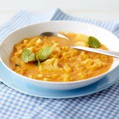 ESSEN & TRINKEN - Linsen-Blumenkohl-Suppe Rezept/anstelle von Sahne Kokos Creme nehmen (Vegan)