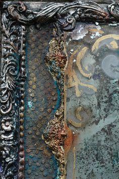 decoupage i jedwabie Ma.ryski verre eglomise,mirror, mixedmedia