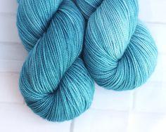 Nerida - Blue Hand Dyed Yarn - Merino Nylon - Fernleigh Sock Yarn - 4 Ply - Fingering Yarn - Hand Dyed Turquoise Sock Yarn - Teal Yarn by ClementineAndThread on Etsy