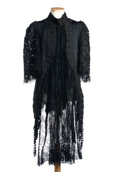 Jacket (image 1) | White, Howard & Co | American; New York | 1880s | silk faille, lace, wooden beads | Charleston Museum