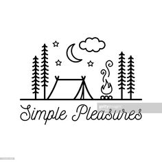 Beautiful minimalist vector illustration - camping in a forest, Simple Pleasures royalty-free beautiful minimalist vector illustration camping in a forest simple pleasures stock vector art & more images of camping Camping Drawing, Travel Drawing, Drawing Simple, Simple Art, Drawing Ideas, Ink Drawings, Easy Drawings, Camping Icons, Travel Doodles