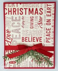 Quick and Easy Last Minute Christmas Cards – Hand Stamped Cards with Josee Smuck-Stampin' Up! Christmas Card Crafts, Christmas Words, Homemade Christmas Cards, Stampin Up Christmas, Christmas Cards To Make, Xmas Cards, Homemade Cards, Handmade Christmas, Holiday Cards