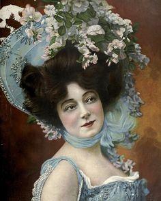 Such an enchantingly gorgeous floral hat! #Edwardian #vintage #fashion