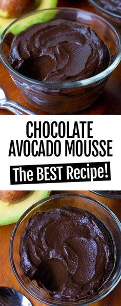 Avocado Chocolate Mousse – TWO Recipes! The Best Super Healthy Chocolate Avocado Mousse Paleo Dessert, Low Carb Dessert, Healthy Dessert Recipes, Gourmet Desserts, Potluck Recipes, Tortillas Veganas, Cena Keto, Comida Keto, Avocado Recipes