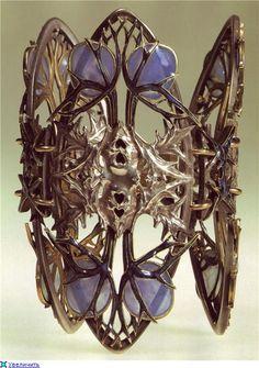 René Laliqie. 1900 Thistle Bracelet. Silver/ gold/ enamel