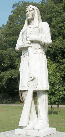statue of Logan, a famous Mingo leader in (Logan), WV