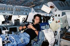 Sally Ride floats in space on STS-7 mission