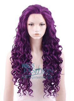 """Long Curly 26"""" Dark Purple Lace Front Synthetic Fashion Wig"""