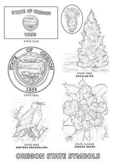 Symboles de l'Etat d'Orégon Coloriage