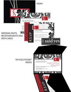 red whit black wedding ideas | Red black white wedding invitations pictures 3
