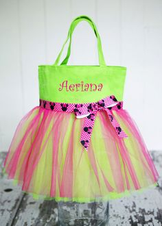 Great Size - Girl's Personalized Tutu Tote Bag in 6 canvas colors in 13.5