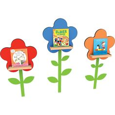 This set of three flower wall displayers with self-adhesive stems creates an attractive display and showcases themed books or new titles in classrooms or library. Displayer x Flower Beds, Flower Wall, Tv Units, Garden Theme, Latest Books, Book Themes, Stems, Adhesive, Display