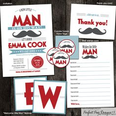 Invitation Little Man on the Way Mustache by PerfectPearDesigns, $38.00
