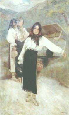 "Ipolit Strâmbu, ""Fete la fântână"" (""Women at the Well"") Interesting Reads, Paper Art, Fairy Tales, Old Things, Beautiful, Romania, Europe, Paintings, Illustrations"