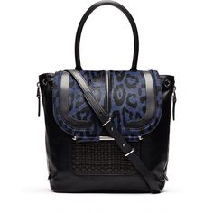Rental Barbara Bui Handbags Navy Air Bag ($175) ❤ liked on Polyvore featuring bags, handbags, shoulder bags, black, leopard handbag, navy handbags, handbags purses, long strap purse and drawstring purse