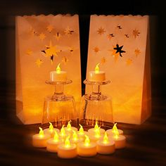 Anzome 30 Packs Flameless Tea Lights Yellow Flickering LED Tealight Candles with Bonus Luminary Bags