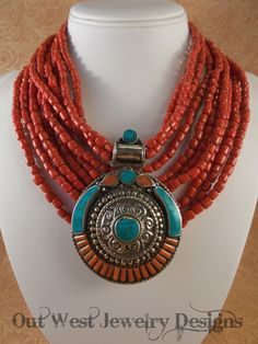 Statement Necklace Set - Red Glass Beads - Handcrafted Howlite Turquoise and Coral Pendant - pinned by pin4etsy.com