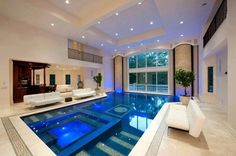 Indoor Swimming Pool Ideas - You want to build a Indoor swimming pool? Here are some Indoor Swimming Pool designs and ideas for you. Future House, Luxury Pools, Indoor Swimming Pools, Indoor Jacuzzi, Lap Pools, Swiming Pool, Pools Inground, Kids Swimming, Beautiful Pools