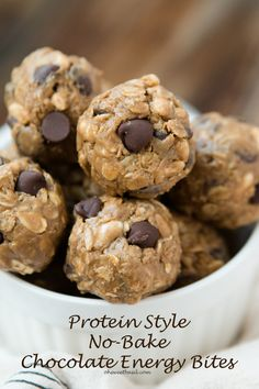 Protein no bake chocolate energy bites for the best snack ever! ohsweetbasil.com