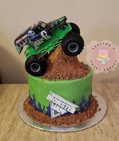 Digger Birthday Cake, Digger Birthday Parties, Monster Truck Birthday Cake, 3rd Birthday Cakes, Digger Party, Birthday Ideas, Monster Trucks, Monster Truck Cakes, Monster Jam Cake