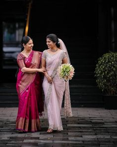 These Gorgeous Christian Brides In Sarees Are Sure To Be Bookmarked For Your D-day. For more such information, visit shaadiwish. Christian Wedding Sarees, Christian Bride, Saree Wedding, Christian Weddings, Punjabi Wedding, Christian Marriage, Bridal Sarees South Indian, South Indian Bride, Indian Bridal