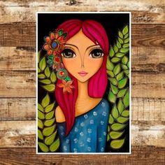 ⭐ROMI LERDA - espacio de arte⭐ 473 bis n - romi_lerda_art Art Painting Gallery, Dot Art Painting, Diy Painting, Big Eyes Paintings, Indian Art Paintings, Beautiful Drawings, Beautiful Paintings, Hippie Painting, Pop Art Girl