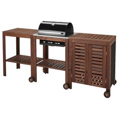ÄPPLARÖ / KLASEN Charcoal barbecue w/ cart & cabinet - brown stained, stainless steel color - IKEA Wood Grill, Diy Grill, Barbecue Grill, Grilling, Built In Grill, Grill Accessories, Wooden Tops, Outdoor Kitchen Design, Brown Wood