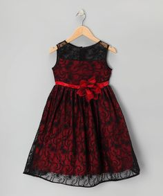 Another great find on #zulily! Black & Red Lace Dress - Toddler & Girls #zulilyfinds