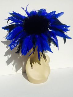 Cobalt Royal Blue Feather Flower Fascinator Mini Cocktail Hat