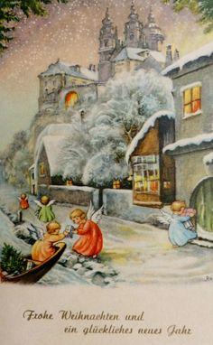 Luv! Vintage Austrian Village & Angels Christmas Card ~ Orange Accents