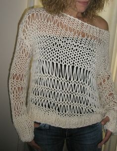 White hand knitted blouse on Etsy, $78.15