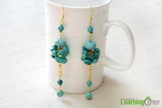 How to Make Long and Clustered Turquoise Bead Earrings