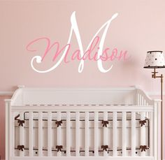 Nursery Custom Name and Initial Wall Decal Sticker 28' W by 21' H, Girl Name Wall Decal, Girls Name, Wall Decor, Personalized, Girls Name Decor, Nursery Bedroom Baby Decor PLUS FREE HELLO DOOR DECAL -- To view further for this item, visit the image link.