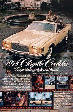 1978 Chrysler Cordoba original vintage advertisement. Photographed in vivid color by Esquire Magazine photographer Anthony Edgeworth. Model featured with optional T-Bar roof.