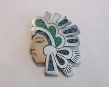Vtg Taxco 925 Sterling Silver Turquoise Aztec Indian Head Pin / Pendant Mexico