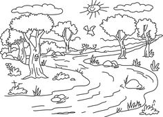 Coloring Pages Nature Scenes Awesome River Landscape Coloring Page Coloring Pages Nature, Tree Coloring Page, Heart Coloring Pages, Free Printable Coloring Pages, Coloring Pages For Kids, Coloring Sheets, Coloring Books, Renaissance Kunst, River Pictures