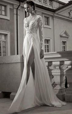 Long sleeve, lace wedding dress, deep V, leg slit Slit Wedding Dress, 2015 Wedding Dresses, Tulle Wedding, Wedding Gowns, Creative Wedding Inspiration, Gold Bridesmaid Dresses, Bridal Gowns, Berta Bridal, The Dress