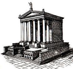 -Templo do Divus Iulius-  Despois de seren asasinado nos idus de marzo do 44 a.C. o corpo de Xulio César foi levado ata o Foro para ser  incinerado nunha pira funeraria. Nese mesmo punto construíuse un altar e máis tarde un templo. Augusto, o seu fillo  adoptivo, honrou ó seu pai como se fose un deus, algo despois normal entre os seguintes emperadores. Aínda hoxe a  xente deposita flores no interior dos restos do templo no aniversario da súa morte (esquerda).