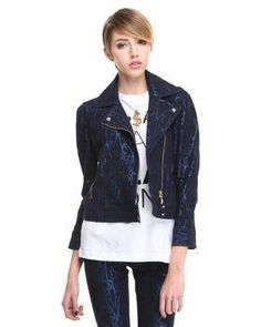 Metallic Filigree Moto Jacket - Apply DJpremium Coupon to save more money plus get free shipping