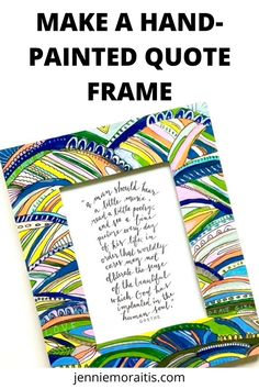 Learn how to make a hand-painted quote frame for a gift this year. Plain frames can be decorated in so many ways—here are some ideas to get you started on this fun and easy craft! Hand Lettering Alphabet, Brush Lettering, Goethe Quotes, Kneaded Eraser, Original Quotes, Painting Quotes, Music Pictures, Wood Creations, Paint Pens